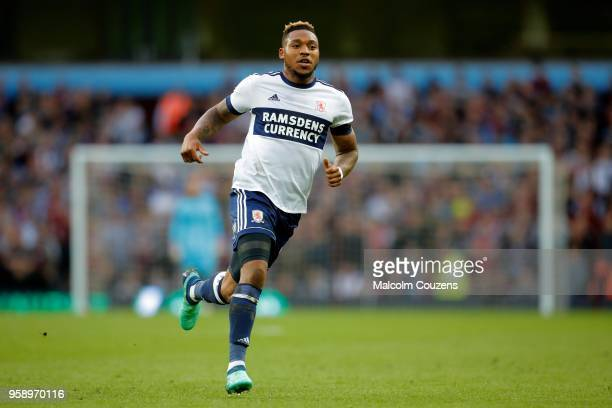 Britt Assombalonga of Middlesbrough during the Sky Bet Championship Play Off Semi FinalSecond Leg match between Aston Villa and Middlesbrough at...