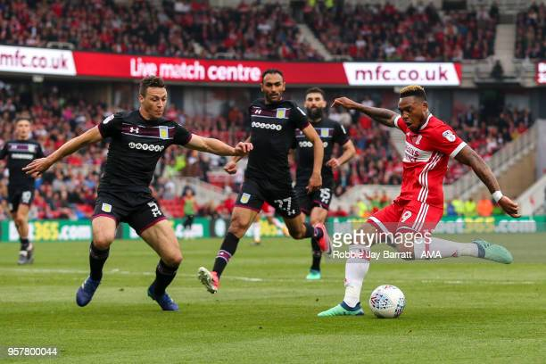 Britt Assombalonga of Middlesbrough has a shot at goal during the Sky Bet Championship Play Off Semi Final First Leg match between Middlesbrough and...