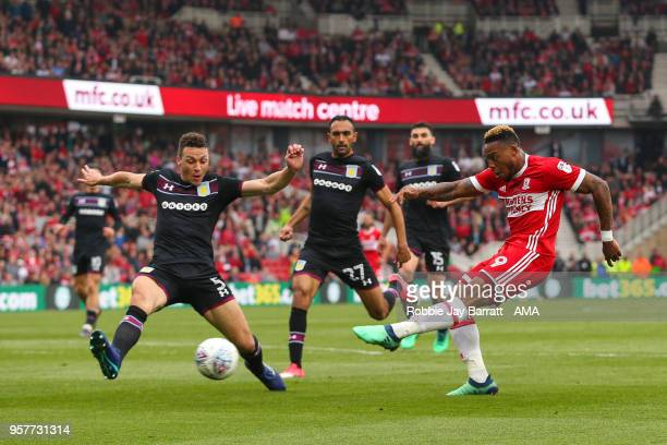 Britt Assombalonga of Middlesbrough has a shot on goal during the Sky Bet Championship Play Off Semi Final First Leg match between Middlesbrough and...