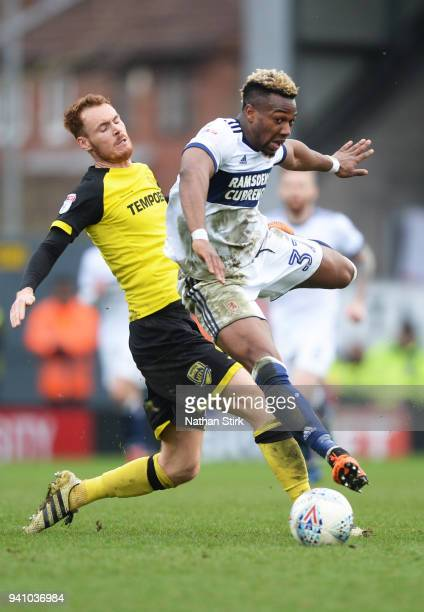 Britt Assombalonga of Middlesbrough in action during the Sky Bet Championship match between Burton Albion and Middlesbrough at Pirelli Stadium on...