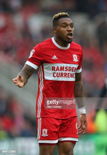 Britt Assombalonga of Middlesbrough looks on during the Sky Bet Championship Play Off Semi FinalFirst Leg match between Middlesbrough and Aston Villa...