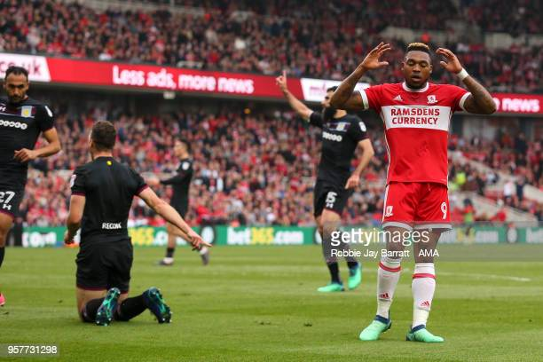 Britt Assombalonga of Middlesbrough reacts after missing a chance during the Sky Bet Championship Play Off Semi Final First Leg match between...