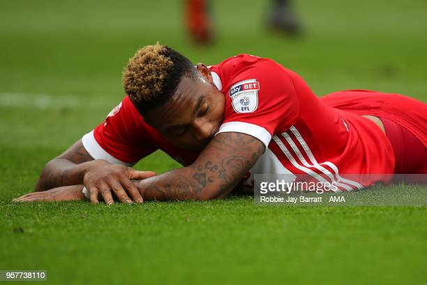 Britt Assombalonga of Middlesbrough reacts during the Sky Bet Championship Play Off Semi Final First Leg match between Middlesbrough and Aston Villa...