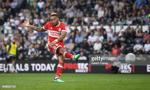 Britt Assombalonga of Middlesbrough scores his team's 2nd goal during the Sky Bet Championship match between Derby and Middlesbrough at iPro Stadium...