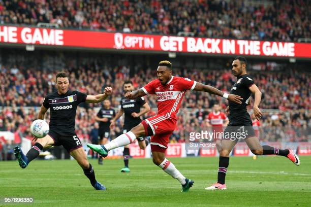 Britt Assombalonga of Middlesbrough shoots over during the Sky Bet Championship Play Off Semi FinalFirst Leg match between Middlesbrough and Aston...