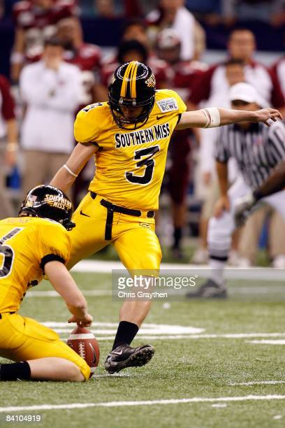 Britt Barefoot of the Southern Mississippi Golden Eagles kicks a field goal to tie the game against the Troy Trojans in the RL Carriers New Orleans...