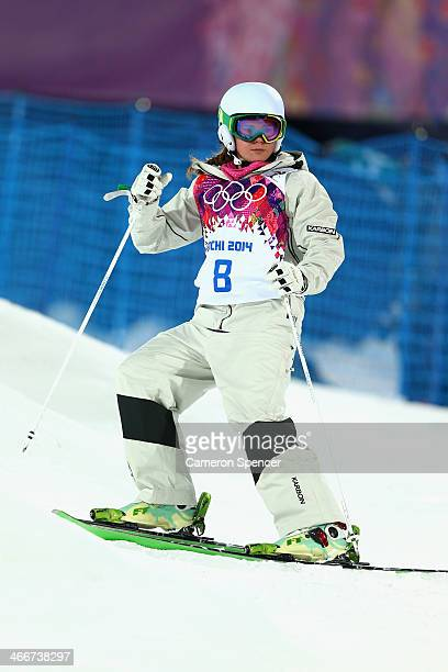 Britt Cox of Australia looks on during moguls practice at the Extreme Park at Rosa Khutor Mountain ahead of the Sochi 2014 Winter Olympics on...