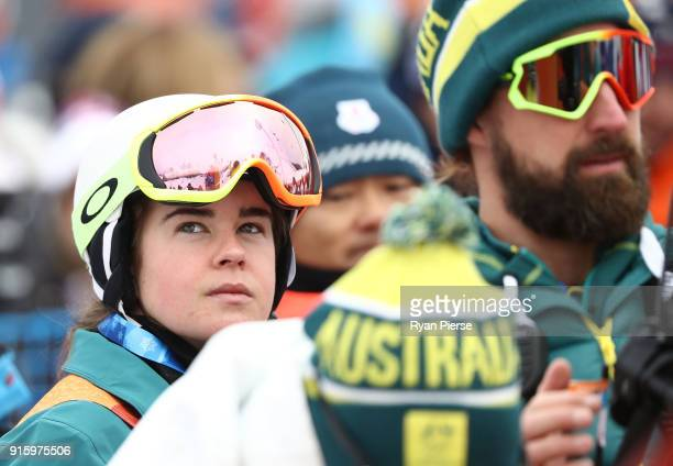Britt Cox of Australia looks on during the Women's Freestyle Skiing Moguls qualification ahead of the PyeongChang 2018 Winter Olympic Games at...