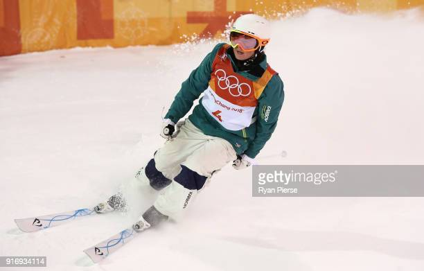 Britt Cox of Australia reacts after her run during the Freestyle Skiing Womens Moguls Final on day two of the PyeongChang 2018 Winter Olympic Games...