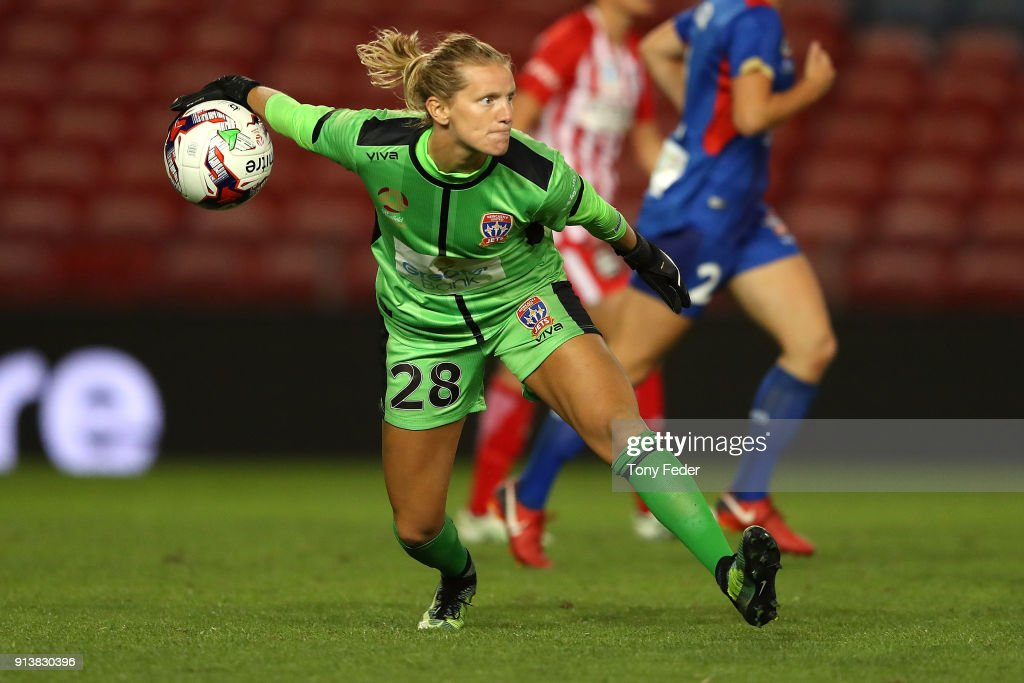 Britt Eckerstrom of the Jets in action during the round 14 W-League match between the Newcastle Jets and Melbourne City FC at McDonald Jones Stadium on February 3, 2018 in Newcastle, Australia.