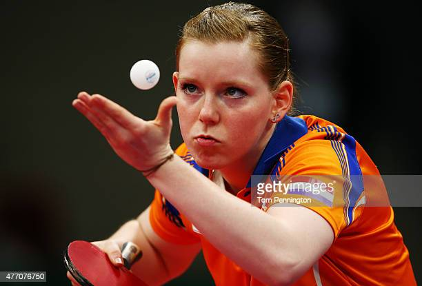 Britt Eerland of Netherlands serves in the Women's Team Table Tennis quarter final match against Natalia Partyka of Poland during day two of the Baku...