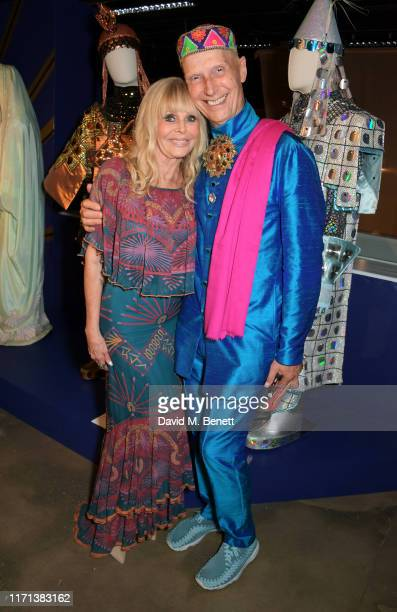 Britt Ekland and Andrew Logan attend a private view of Zandra Rhodes 50 Years Of Fabulous at The Fashion and Textile Museum on September 26 2019 in...