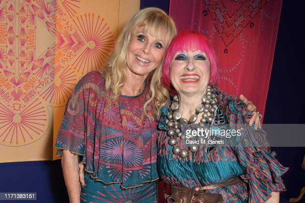 Britt Ekland and Dame Zandra Rhodes attend a private view of Zandra Rhodes 50 Years Of Fabulous at The Fashion and Textile Museum on September 26...