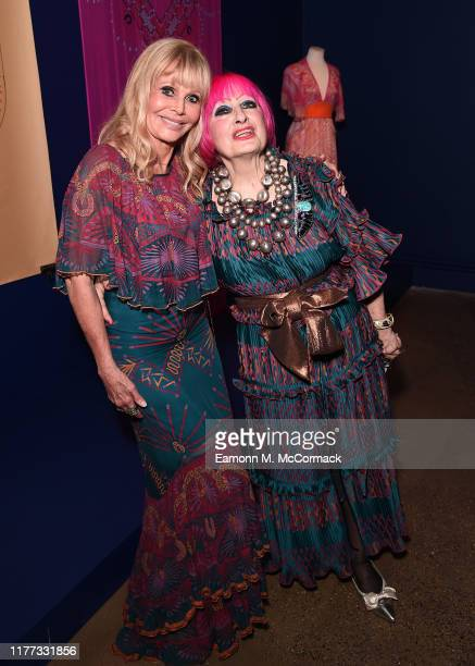Britt Ekland and Zandra Rhodes attend the opening of Zandra Rhodes 50 Years of Fabulous at The Fashion and Textile Museum on September 26 2019 in...