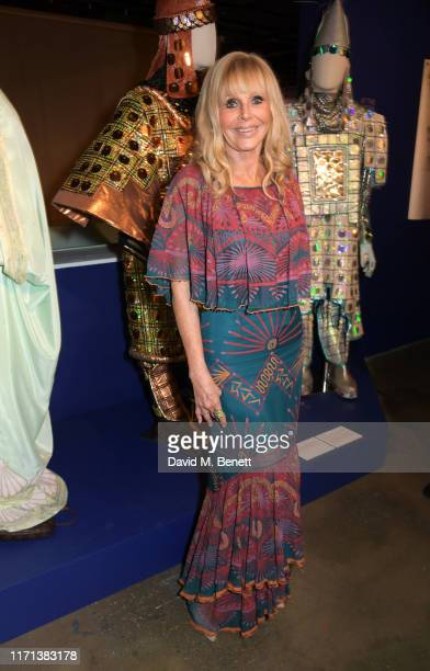 "Britt Ekland attends a private view of ""Zandra Rhodes: 50 Years Of Fabulous"" at The Fashion and Textile Museum on September 26, 2019 in London,..."