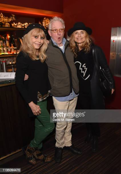 Britt Ekland Hugh Hudson and Maryam d'Abo attend 'In Conversation With Malcolm McDowell' at the BFI Southbank on April 5 2019 in London England