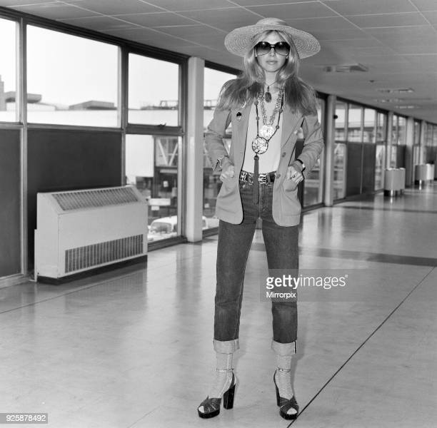 Britt Ekland leaves London Airport for Bangkok where she is due to start filming 'The Man with the Golden Gun' 13th April 1974