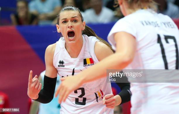Britt Herbots of Belgium celebrates a point against the Dominican Republic during the FIVB Volleyball Nations League 2018 at Beilun Gymnasium on May...
