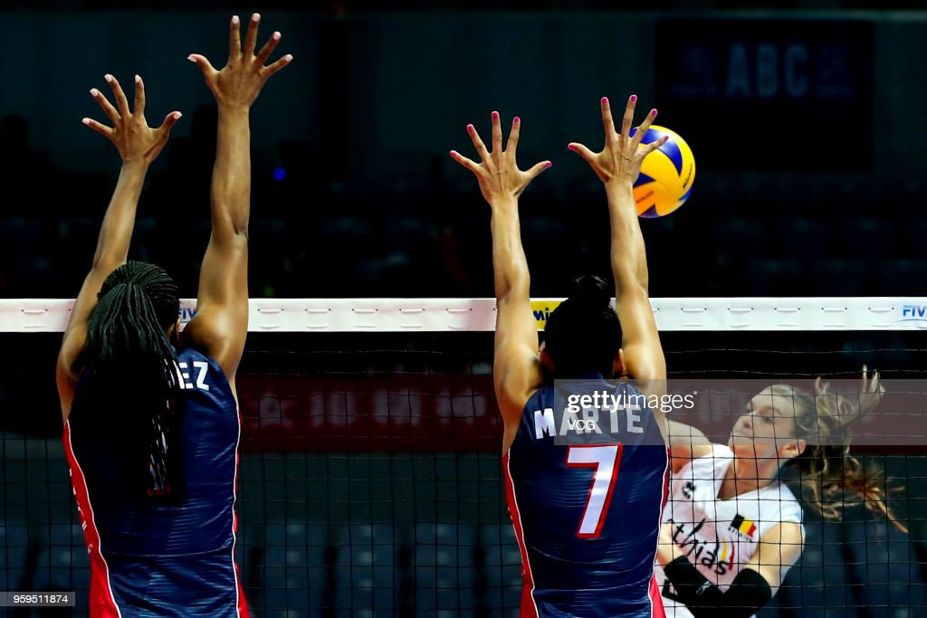 Britt Herbots #3 of Belgium competes against Niverka Dharlenis Marte Frica #7 of the Dominican Republic during the FIVB Volleyball Nations League 2018 at Beilun Gymnasium on May 17, 2018 in Ningbo, China.