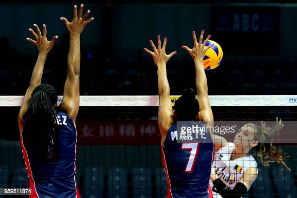 Britt Herbots of Belgium competes against Niverka Dharlenis Marte Frica of the Dominican Republic during the FIVB Volleyball Nations League 2018 at...