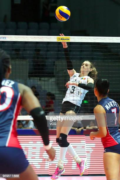 Britt Herbots of Belgium competes against the Dominican Republic during the FIVB Volleyball Nations League 2018 at Beilun Gymnasium on May 17 2018 in...