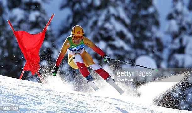 Britt Janyk of Canada competes during the Alpine Skiing Ladies Downhill on day 6 of the Vancouver 2010 Winter Olympics at Whistler Creekside on...