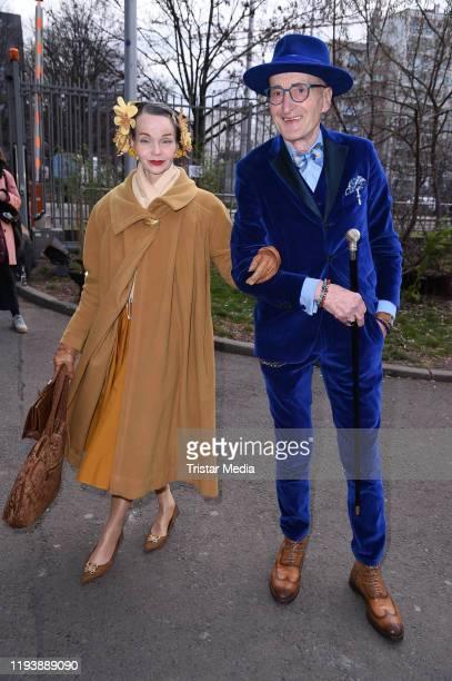 Britt Kanja and Guenther Krabbenhoeft attend the Lena Hoschek fashion show during Berlin Fashion Week Autumn/Winter 2020 at Kraftwerk Mitte on...