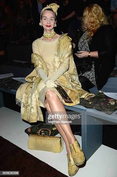Britt Kanja attends the Lena Hoschek show during the MercedesBenz Fashion Week Berlin Autumn/Winter 2016 at Brandenburg Gate on January 19 2016 in...
