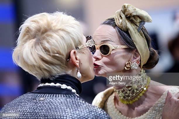 Britt Kanja during the MercedesBenz Fashion Week Berlin Autumn/Winter 2016 at Brandenburg Gate on January 19 2016 in Berlin Germany