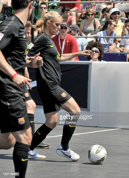 Britt McHenry plays soccer during the 2011 Celebrity Soccer Challenge at Kastles Stadium at the Wharf on July 31 2011 in Washington DC