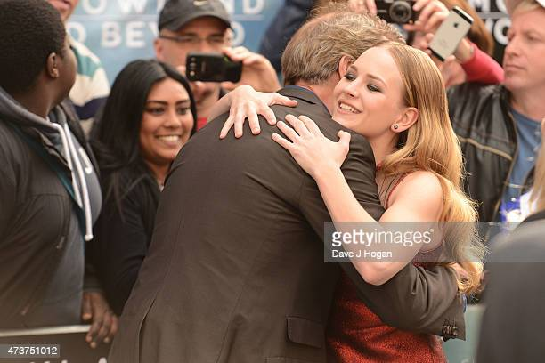 Britt Robertson and Hugh Laurie attend the Tomorrowland A World Beyond European premiere at Leicester Square on May 17 2015 in London England
