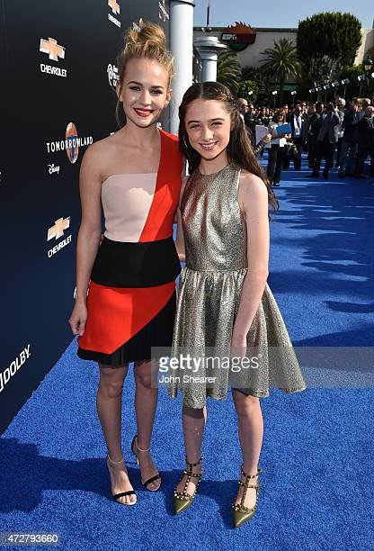 Britt Robertson and Raffey Cassidy attend the premiere of Disney's Tomorrowland at AMC Downtown Disney 12 Theater on May 9 2015 in Anaheim California