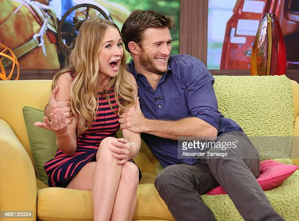 Britt Robertson and Scott Eastwood are seen on the set of Univision's morning show Despierta America to promote the movie 'The Longest Ride' at...