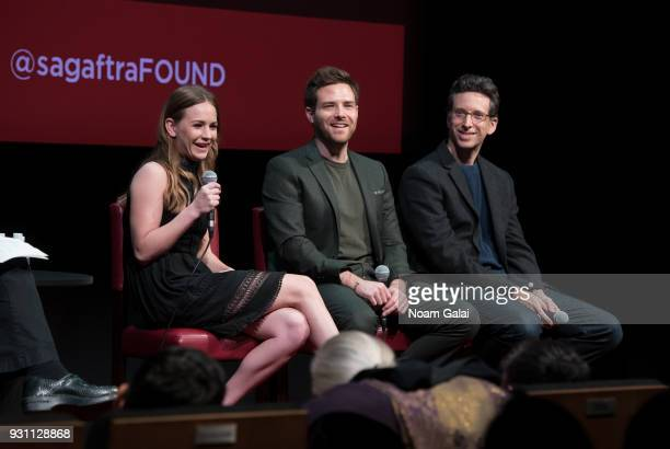 Britt Robertson Ben Rappaport and Ben Shenkman attend SAGAFTRA Foundation Conversations 'For The People' at The Robin Williams Center on March 12...