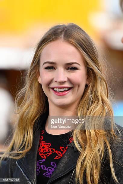 Britt Robertson visits Extra at Universal Studios Hollywood on April 6 2015 in Universal City California