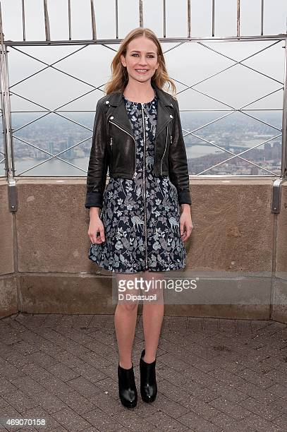 Britt Robertson visits The Empire State Building on April 9 2015 in New York City