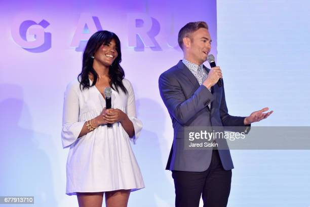 Britt Stephens and Matthew Rodrigues speak on stage during the POPSUGAR 2017 Digital NewFront at Industria Studios on May 3 2017 in New York City
