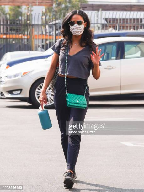 Britt Stewart is seen arriving at 'Dancing With The Stars' Studios on September 16 2020 in Los Angeles California