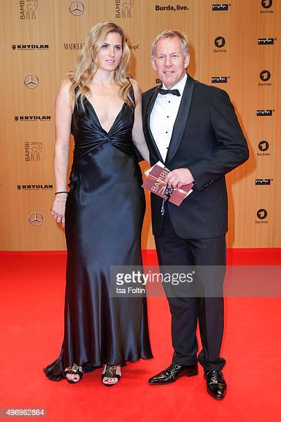 Britta Becker and Johannes B Kerner attend the Kryolan At Bambi Awards 2015 Red Carpet Arrivals on November 12 2015 in Berlin Germany
