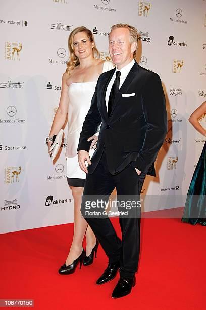 Britta BeckerKerner and Johannes B Kerner pose on the red carpet for the Bambi 2010 Award at Filmpark Babelsberg on November 11 2010 in Potsdam...