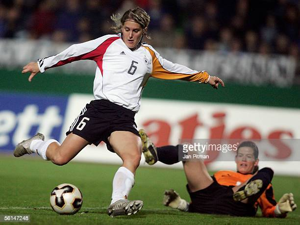 Britta Carlson of Germany scores 2-0 during the Women FIFA World Cup 2007 qualifier between Germany and Switzerland at the Donau Stadium on November...