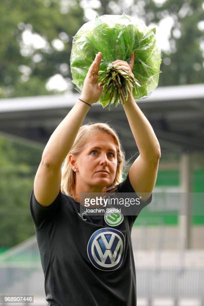 Britta Carlson of Wolfsburg before the Allianz Frauen Bundesliga match between VfL Wolfsburg and 1 FC Koeln at AOKStadion on June 3 2018 in Wolfsburg...