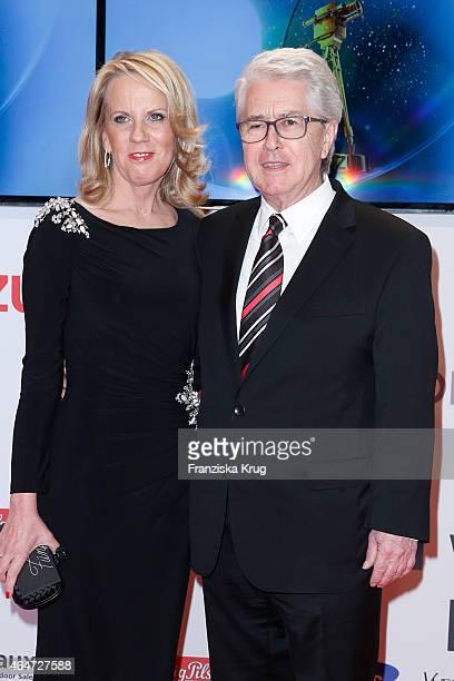Britta Gessler and Frank Elstner attend the Goldene Kamera 2015 on February 27 2015 in Hamburg Germany