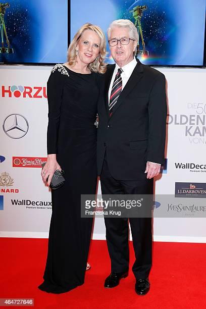 Britta Gessler and Frank Elstner attend the Goldene Kamera 2015 on February 27, 2015 in Hamburg, Germany.