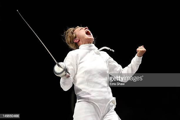 Britta Heidemann of Germany celebrates defeating A Lam Shin of Korea during the Women's Epee Individual Fencing Semifinals on Day 3 of the London...