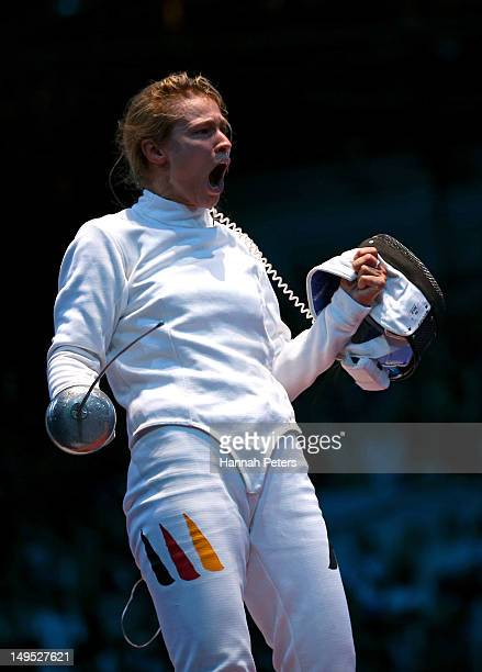 Britta Heidemann of Germany celebrates defeating Bianca Del Carretto of Italy during the Women's Epee Individual Fencing round of 32 on Day 3 of the...