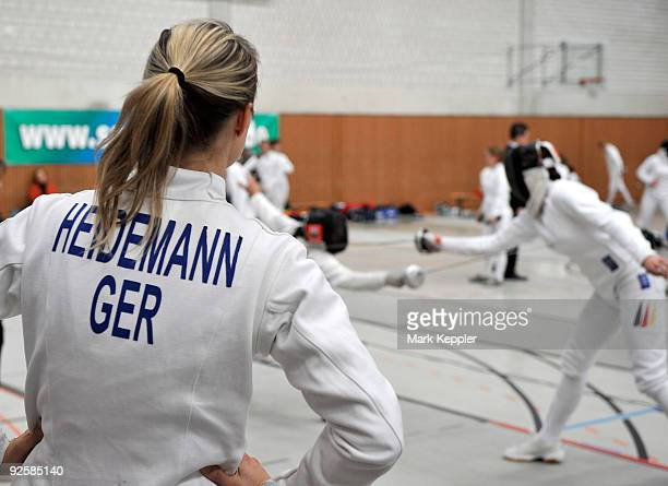 Britta Heidemann watches a fencing duel during the fencing cup at Kurt-Riess sports ground on October 31, 2009 in Leverkusen, Germany.