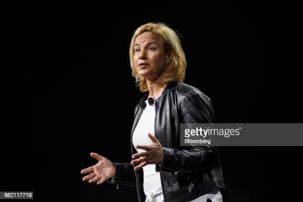 Britta Seeger member of the board of management of Daimler AG speaks during the company's press conference at AutoMobility LA ahead of the Los...