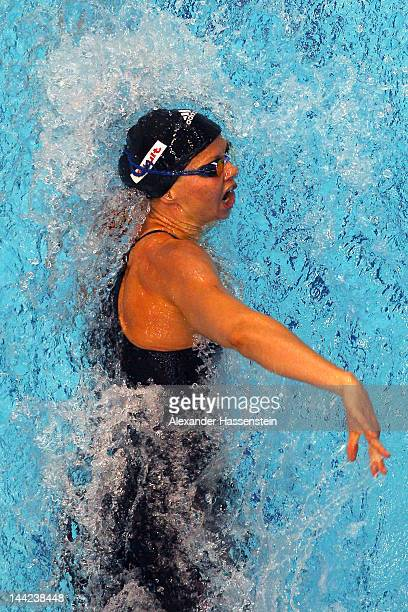Britta Steffen competes in the women's 200 m freestyle head during day three of the German Swimming Championships 2012 at the Eurosportpark on May 12...