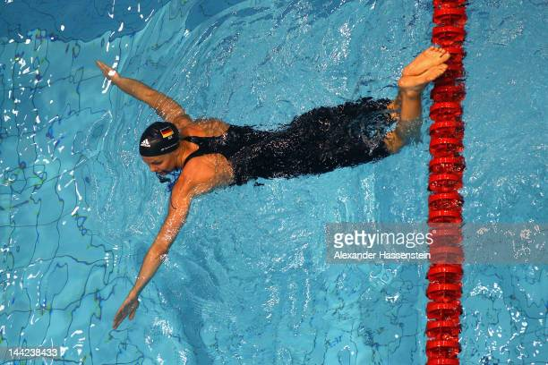 Britta Steffen looks on after her women's 200 m freestyle head during day three of the German Swimming Championships 2012 at the Eurosportpark on May...